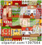 Clipart Of A Seamless Background Pattern Of Town Homes Royalty Free Vector Illustration