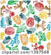 Poster, Art Print Of Seamless Background Pattern Of Mayan Hieroglyphs
