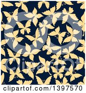 Seamless Background Pattern Of Silhouetted Butterflies