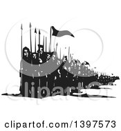 Clipart Of A Black And White Woodcut Line Of Marching People With Spears And Flags Royalty Free Vector Illustration