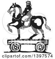 Black And White Woodcut Horseback King Toy