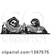 Black And White Woodcut Skeleton Or Grim Reaper Drinking Poison With A Man