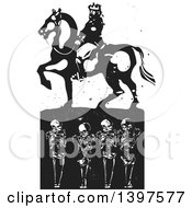 Black And White Woodcut Horseback King Over Graves