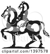 Clipart Of A Black And White Woodcut Mounted Horse Headed Man Royalty Free Vector Illustration by xunantunich
