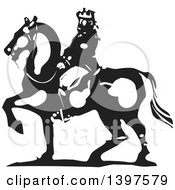 Clipart Of A Black And White Woodcut Horseback King Royalty Free Vector Illustration