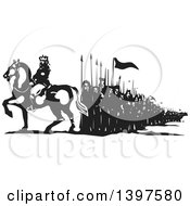 Clipart Of A Black And White Woodcut Horseback King With Marching People Royalty Free Vector Illustration