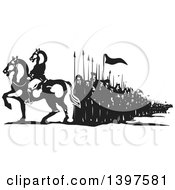 Clipart Of A Black And White Woodcut Mounted Horse Headed Man And Line Of People Royalty Free Vector Illustration