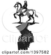 Clipart Of A Black And White Woodcut Horseback King With A Crowd Of People Like A Shadow Below Him Royalty Free Vector Illustration by xunantunich