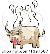 Clipart Of A Cartoon Steaming Cow Bull Royalty Free Vector Illustration
