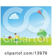 Happy Little Boy Flying A Kite Near A Barn Clipart Illustration by Rasmussen Images