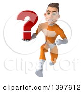 Clipart Of A 3d Young Brunette White Male Super Hero In An Orange Suit On A White Background Royalty Free Illustration