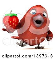 Clipart Of A 3d Red Bird Holding A Strawberry On A White Background Royalty Free Illustration