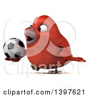 Clipart Of A 3d Red Bird Holding A Soccer Ball On A White Background Royalty Free Illustration