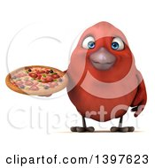 Clipart Of A 3d Red Bird Holding A Pizza On A White Background Royalty Free Illustration
