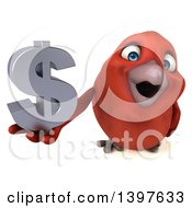 Clipart Of A 3d Red Bird Holding A Usd Symbol On A White Background Royalty Free Illustration