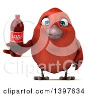 Clipart Of A 3d Red Bird Holding A Soda Bottle On A White Background Royalty Free Illustration