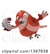 Clipart Of A 3d Red Bird Holding A Euro Symbol On A White Background Royalty Free Illustration