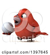 Clipart Of A 3d Red Bird Holding A Golf Ball On A White Background Royalty Free Illustration
