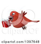 Clipart Of A 3d Red Bird Holding A Gift On A White Background Royalty Free Illustration