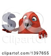 Clipart Of A 3d Red Bird Holding A Dollar Symbol On A White Background Royalty Free Illustration