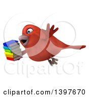 Clipart Of A 3d Red Bird Holding Books On A White Background Royalty Free Illustration