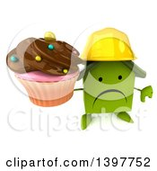 Clipart Of A 3d Green House Contractor Character On A White Background Royalty Free Illustration