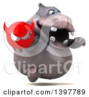 Clipart Of A 3d Henry Hippo Character Holding A Devil Head On A White Background Royalty Free Illustration