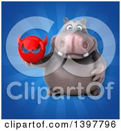Clipart Of A 3d Henry Hippo Character Holding A Devil Head Royalty Free Illustration