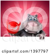 Clipart Of A 3d Henry Hippo Character Holding A Devil Head Royalty Free Illustration by Julos
