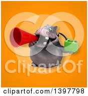 Clipart Of A 3d Henry Hippo Character Holding A Gas Can Royalty Free Illustration by Julos