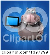 Clipart Of A 3d Henry Hippo Character Holding A Tablet Computer Royalty Free Illustration by Julos