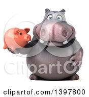 Clipart Of A 3d Henry Hippo Character Holding A Piggy Bank On A White Background Royalty Free Illustration by Julos