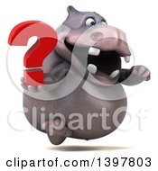 Clipart Of A 3d Henry Hippo Character Holding A Question Mark On A White Background Royalty Free Illustration by Julos