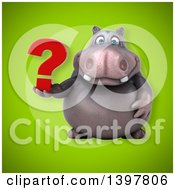 Clipart Of A 3d Henry Hippo Character Holding A Question Mark Royalty Free Illustration by Julos