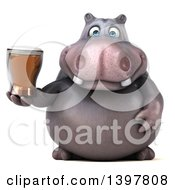 Clipart Of A 3d Henry Hippo Character Holding A Beer On A White Background Royalty Free Illustration by Julos