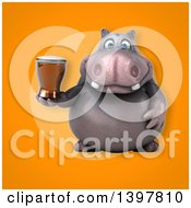 Clipart Of A 3d Henry Hippo Character Holding A Beer Royalty Free Illustration by Julos