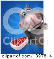Clipart Of A 3d Henry Hippo Character Holding A Beef Steak Royalty Free Illustration by Julos