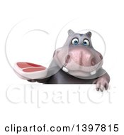 Clipart Of A 3d Henry Hippo Character Holding A Beef Steak On A White Background Royalty Free Illustration by Julos