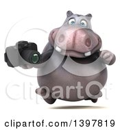 Clipart Of A 3d Henry Hippo Character Holding A Camera On A White Background Royalty Free Illustration by Julos