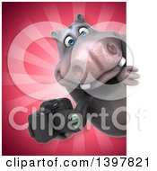 Clipart Of A 3d Henry Hippo Character Holding A Camera Royalty Free Illustration by Julos