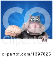 Clipart Of A 3d Henry Hippo Character Holding A Brain Royalty Free Illustration by Julos