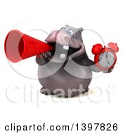 Clipart Of A 3d Henry Hippo Character Holding An Alarm Clock On A White Background Royalty Free Illustration by Julos
