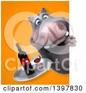 Clipart Of A 3d Henry Hippo Character Serving Wine Royalty Free Illustration by Julos