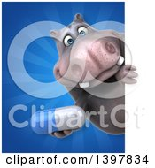 Clipart Of A 3d Henry Hippo Character Holding A Pill Royalty Free Illustration by Julos