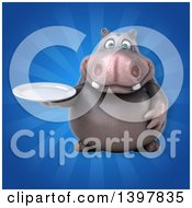 Clipart Of A 3d Henry Hippo Character Holding A Plate Royalty Free Illustration