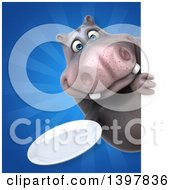 Clipart Of A 3d Henry Hippo Character Holding A Plate Royalty Free Illustration by Julos