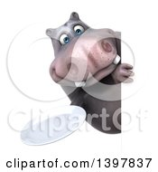Clipart Of A 3d Henry Hippo Character Holding A Plate On A White Background Royalty Free Illustration
