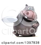 Clipart Of A 3d Henry Hippo Character Holding A Plate On A White Background Royalty Free Illustration by Julos