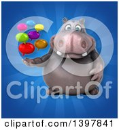 Clipart Of A 3d Henry Hippo Character Holding Speech Balloons Royalty Free Illustration by Julos