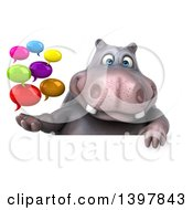 Clipart Of A 3d Henry Hippo Character Holding Speech Balloons On A White Background Royalty Free Illustration by Julos
